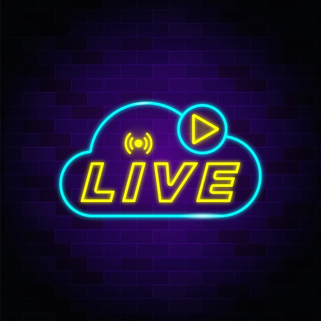 Insegna al neon in streaming live