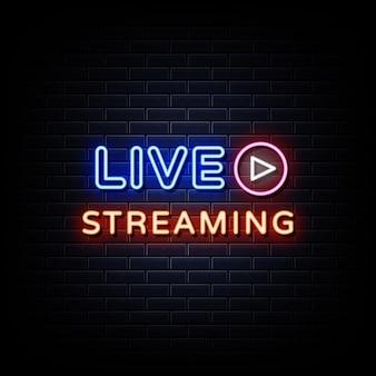 Live streaming insegne al neon in stile testo vettoriale