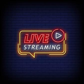 Testo di stile di insegne al neon in streaming live