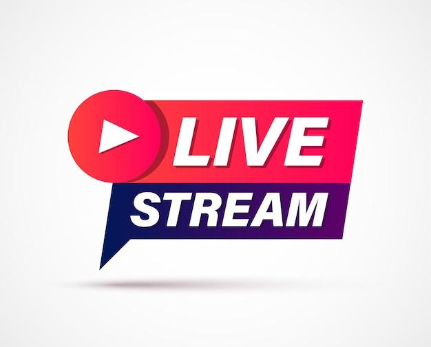 Segno di live streaming banner geometrico di live streaming online o trasmissione isolato su sfondo bianco segno live stream stream
