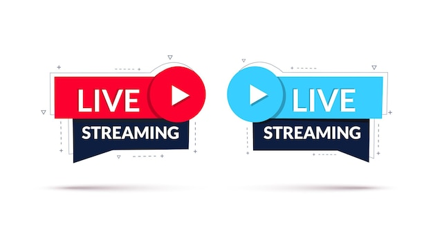Banner geometrico del segno di live streaming di live streaming o trasmissione online