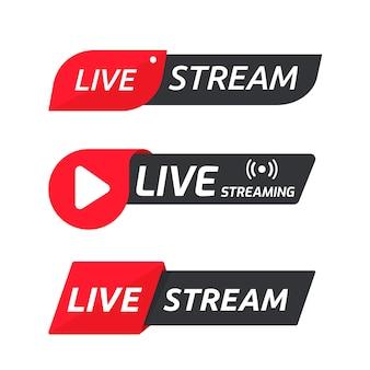 Set di simboli di streaming live icona di trasmissione in linea il concetto di streaming live sui social media.