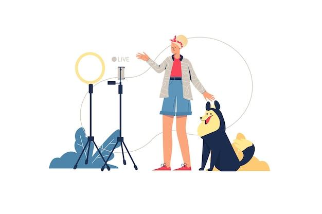 Concetto di web streaming in diretta. blogger comunica online con gli abbonati in trasmissione video. donna con cane che trasmette in diretta, scena di persone minime. illustrazione vettoriale in design piatto per sito web