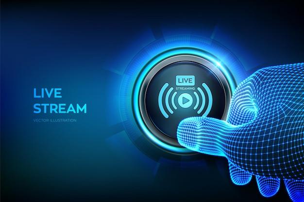 Live streaming webinar illustrazione online con il dito che sta per premere un pulsante