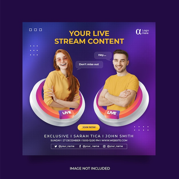 Modello di post sui social media per post su instagram di live streaming workshop