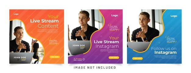 Live streaming youtube tiktok e modello di post sui social media di instagram