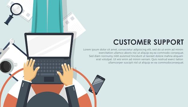 Banner di supporto dal vivo. concetto di servizio di assistenza clienti aziendali