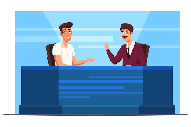 Presentatore di notiziari televisivi in diretta che intervista l'interlocutore ospite dell'uomo