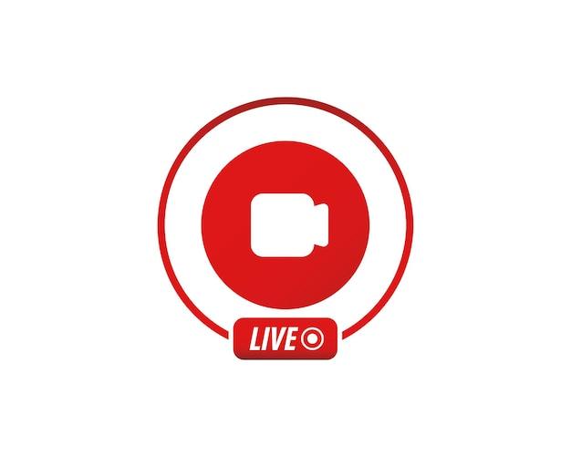 Icona del flusso video in diretta. icona del flusso video, streaming live. elemento di social media. video in diretta, blog.