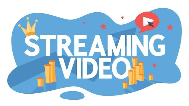 Streaming video in diretta nel concetto di social network. guarda in internet utilizzando smartphone o computer. illustrazione