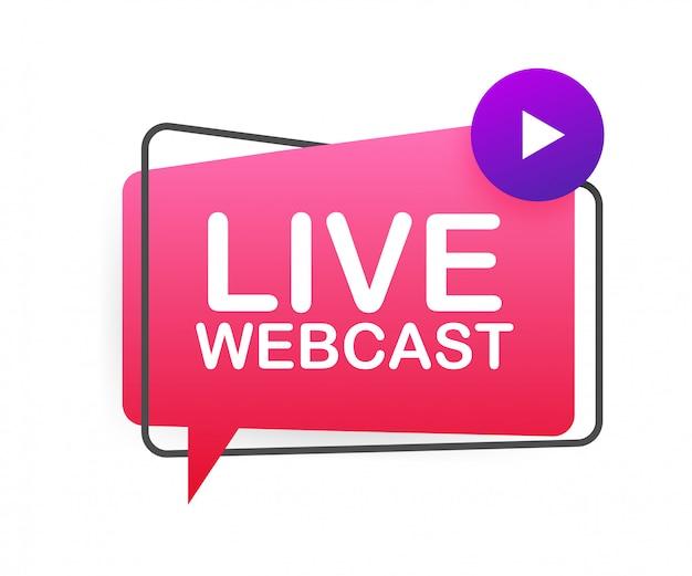 Pulsante webcast live, icona, emblema, etichetta. illustrazione di riserva.
