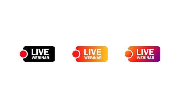 Icona del pulsante webinar dal vivo. riproduci streaming online. etichetta dell'emblema. vettore su sfondo bianco isolato. env 10.