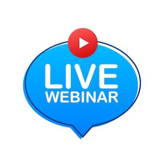 Webinar dal vivo pulsante, icona, logo timbro illustrazione vettoriale