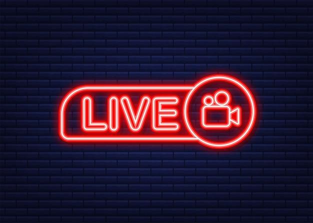 Pulsante webinar dal vivo, icona al neon. illustrazione vettoriale.