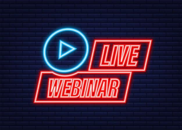 Pulsante webinar dal vivo con megafono, icona. icona al neon. illustrazione vettoriale.