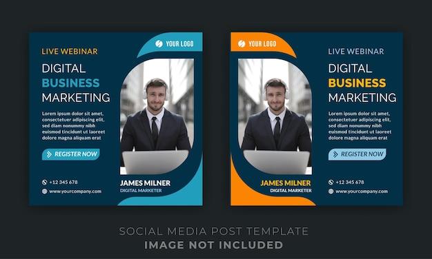 Post sui social media di marketing aziendale digitale dal vivo webinar