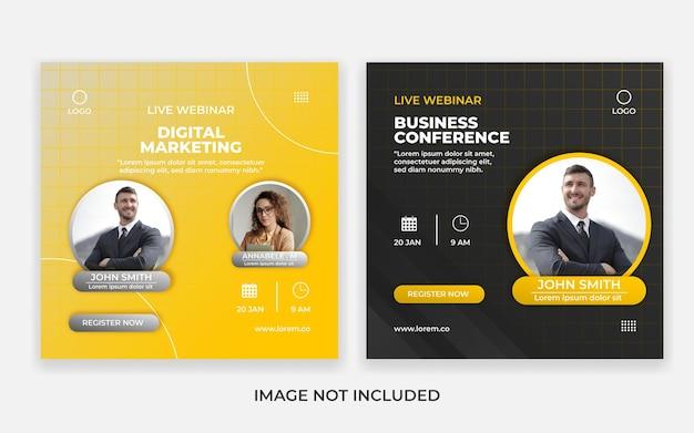 Modello di post sui social media di marketing digitale in diretta webinar