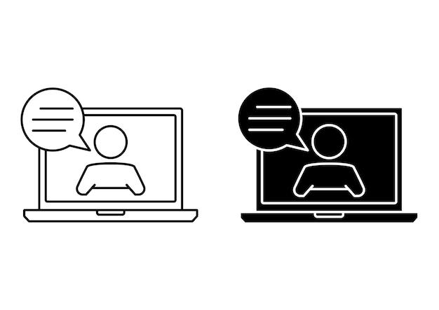 Icona del webinar dal vivo. computer portatile con uomo e fumetto. comunicazione online, chat. illustrazione concettuale per assistenza, call center, servizio di aiuto virtuale. servizio clienti. vettore