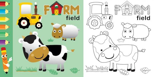 Fumetto degli animali da allevamento con il trattore giallo nel campo dell'azienda agricola
