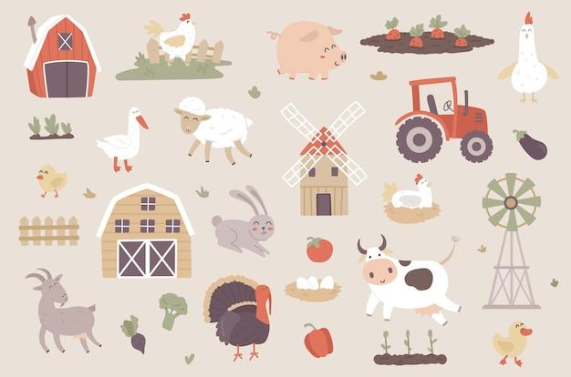 Set di oggetti isolati di allevamento di bestiame collezione di maiale mucca pecora capra pollo oca tacchino