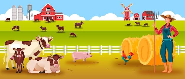 Paesaggio di fattoria di bestiame con mucche, contadina, vitello, toro, maiale, gallo, mucchi di fieno, granaio