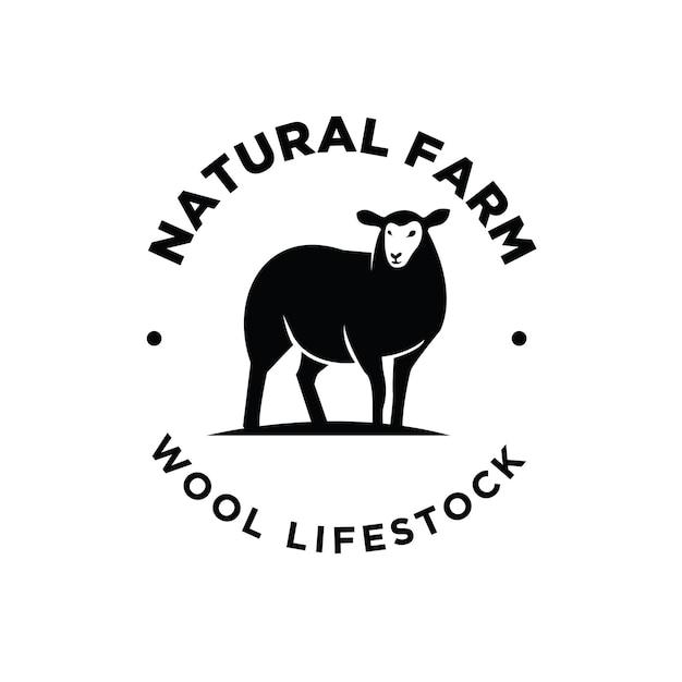 Logo nero premium di allevamento di pecore di bestiame