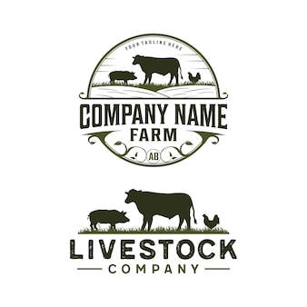 Logo vintage di bestiame con mucca, pollo e maiale