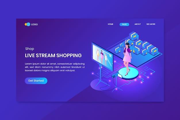 Pagina di destinazione del concetto isometrico di acquisto in live streaming