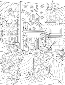 Soggiorno scarabocchio set divano tv cassetto camino incolore disegno linea comune disegno divano