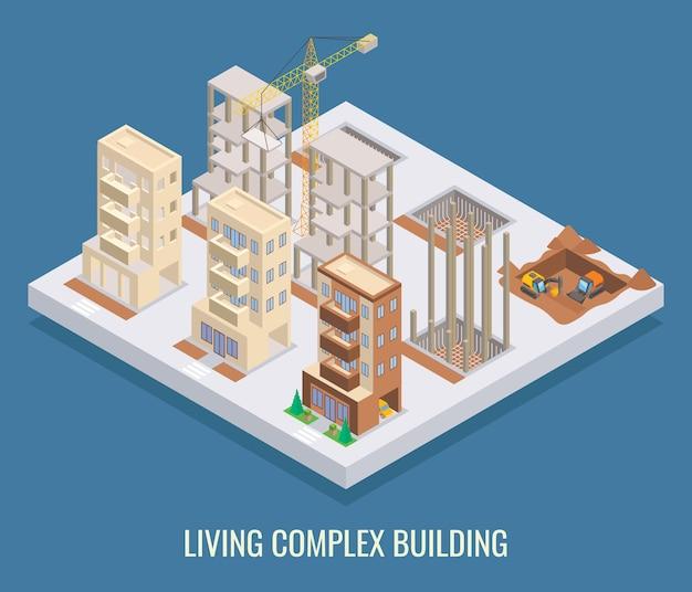 Poster isometrico piatto edificio complesso vivente, banner.