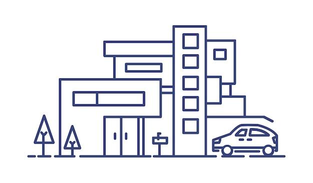 Casa vivente costruita in stile architettonico contemporaneo e automobile parcheggiata accanto disegnata con linee blu su sfondo bianco. immobile residenziale o immobiliare. illustrazione vettoriale monocromatica.