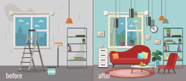 Soggiorno prima e dopo la riparazione. ristrutturazione interni casa.