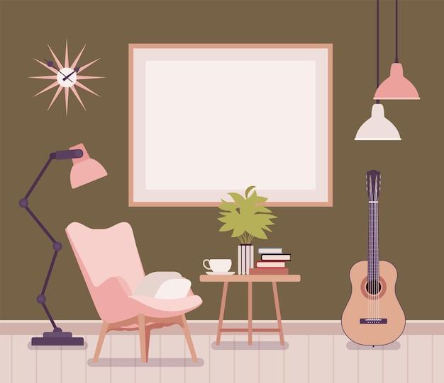 Idee per arredare il soggiorno. appartamento funzionale, poster da parete vuoto, poltrona, lampadario, tavolino da caffè con tazza, libri e un comodo spazio retrò per ispirare. illustrazione del fumetto di vettore stile piano