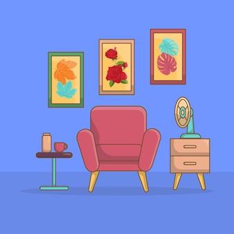 Design del soggiorno minimalista con design piatto di mobili per attrezzature