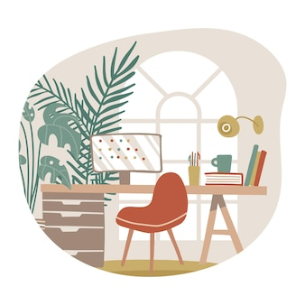 Area di lavoro hygge interno casa soggiorno con sedia da tavolo