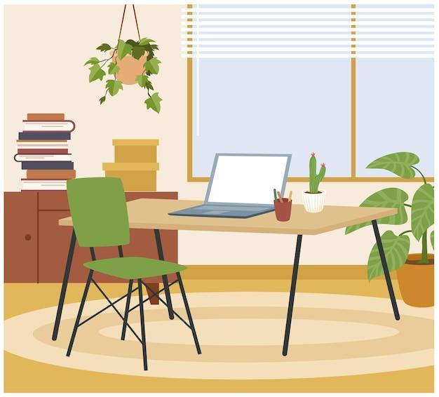 Interiore della casa soggiorno, illustrazione vettoriale sul posto di lavoro. area di lavoro hygge dei cartoni animati con tavolo, sedia, laptop per lavoro freelance, mobili eleganti e comodi e un confortevole sfondo per la decorazione della casa