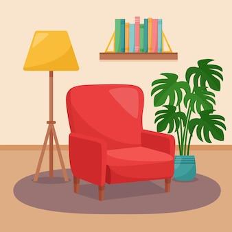 Interno del soggiorno. poltrona, scaffale con libri, lampada da terra e pianta d'appartamento, illustrazione vettoriale