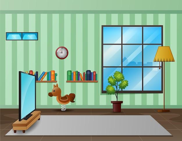 Soggiorno interior design con mobili
