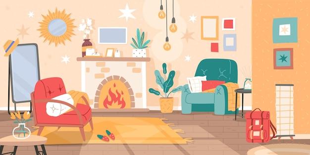 Interno del soggiorno. decorazione della casa in moderno stile scandinavo, guest house confortevole e accogliente, mobili e oggetti per interni. concetto di vettore