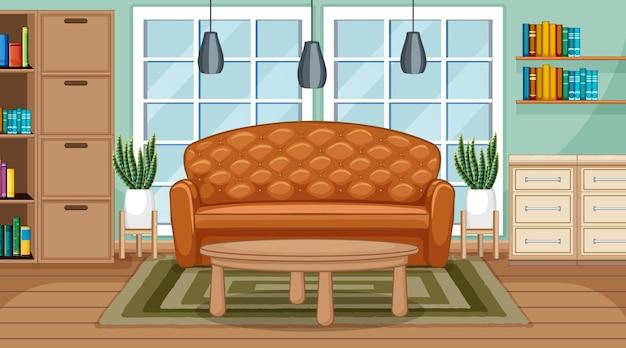 Scena interna del soggiorno con mobili e decorazione del soggiorno