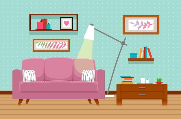Interno soggiorno con divano, tavolo, lampada.