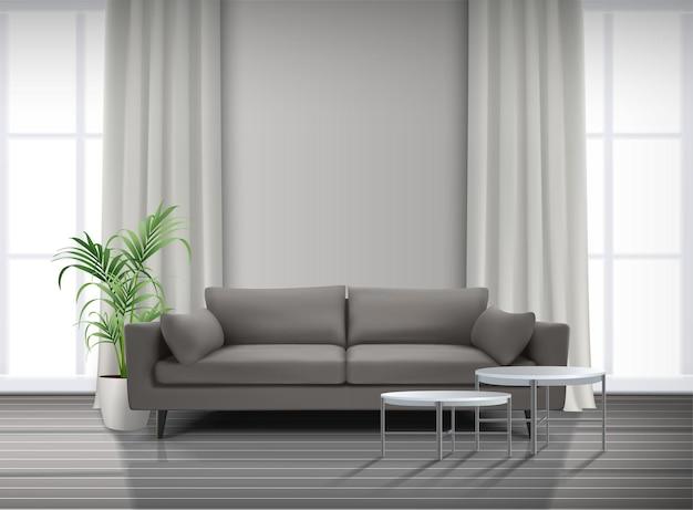 Interno soggiorno con tende di finestre divano con tavolini da caffè