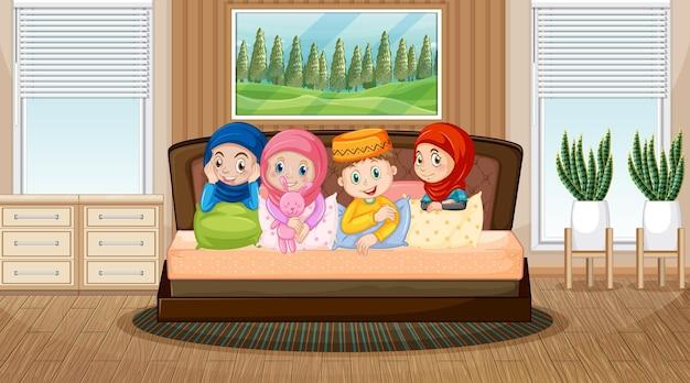 Scena del soggiorno con il personaggio dei cartoni animati dei bambini musulmani Vettore Premium