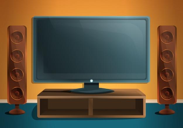 Soggiorno con tv e altoparlanti, illustrazione