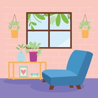 Soggiorno con scena di decorazioni per la casa della finestra