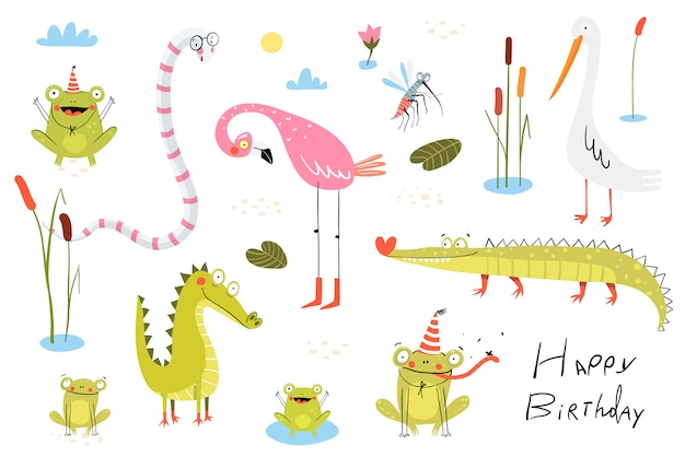 Lucertola, rane, alligatori, coccodrilli e fenicotteri con uccelli di anatra o di canna. raccolta del fumetto di clipart degli animali di scarabocchio del lago e della palude per i bambini.