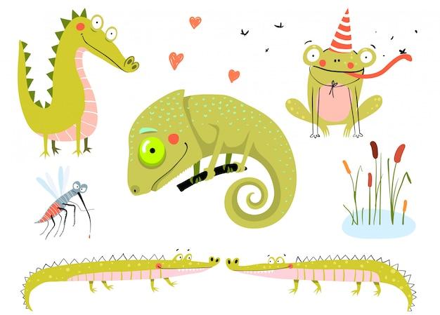 Lucertola, rane, alligatori e coccodrilli. palude e lago doodle animali cartoon per bambini.