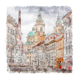 Illustrazione disegnata a mano di schizzo dell'acquerello di lubiana slovenia