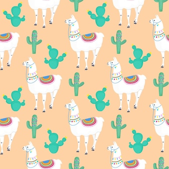 Lama. cactus. cactus. personaggio dei cartoni animati divertente dell'alpaca. modello senza cuciture per vivaio, tessuto, tessile, abbigliamento per bambini.