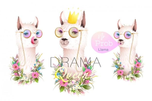 Collezione di designer llama no drama per magliette, biglietti di auguri e altri progetti.